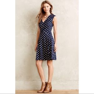 Anthropologie Dresses - Anthro Maeve Ophira Dot Dress Gold Polka Dot Navy